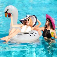 белое плавающее кольцо оптовых-INS Hot Inflatable Swan Swimming Ring with Feathers Swan Transparent White Ring Swim Tube Raft Circle for Adult Children Piscina