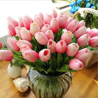 ingrosso bouquet di nozze tulipani-Tulipani in lattice PU artificiale Bouquet di fiori Tocco reale Fiori Mini tulipano per decorazioni per feste di nozze a casa