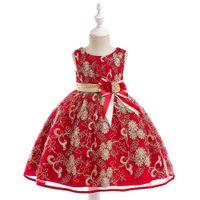 Wholesale tutu dresses online - Baby Girl Princess Dress Gold Thread Embroidered Tutu Formal Wedding Dress kids designer clothes girls Flower Girls Knit Belt Bowtie Dress