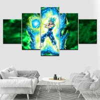 Wholesale ball poster - Pictures Kids Room Wall Art Canvas HD Prints 5 Pieces Dragon Ball Z Paintings Super Saiyan Poster Modular Home Decor Framework
