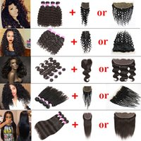 Wholesale Cheap Kinky Straight Human Hair - Body Wave Hair Weaves Peruvian Straight Cheap Human Hair Bundle Lace Closure Or Frontal Closure Deep Wave Kinky Curly 4 Bundles with Closure