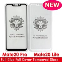 Wholesale color tempered glass online - NEW Arrival Huawei MATE20 MATE PRO MATE LITE Full Cover Tempered Glass Phone Screen Protector balck white color full glue fast fit