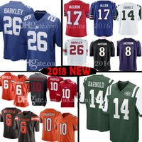 Wholesale new jersey jets - New York 26 Saquon Barkley 14 Sam Darnold Gaint Jet Jersey 6 Baker Mayfield 17 Josh Allen 8 Lamar Jackson Cleveland 10 Jimmy Garoppolo Brown