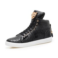 Wholesale Tassel Dance - Size 37~44 High Quality Serpentine PU Leather Men Ankle Boots Men Hip Hop Shoes Fashion Street Dance Men Shoes