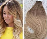 ücretsiz saç tutkal toptan satış-Ombre # 6/613 16-24 inç Tutkal Cilt Atkı PU Bant İnsan Saç Uzantıları Brezilyalı REMY Saç ABD Için Ücretsiz Nakliye