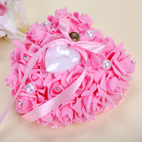 Wholesale Pink Roses Pillow Cases - 2018 Romantic Crystals Rose Flowers Ring Box Heart Shape Cheap Wedding Jewelry Case Ring Bearer Pillow Cushion Holder Red Ring Pillow