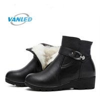 Wholesale wedge ankle wool boots - Warm comfortable winter shoes woman ankle boots 2017 new mom wool genuine leather shoes Wedges women snow boots Plus Size
