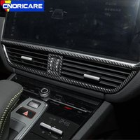 углеродное волокно porsche оптовых-Углеродного волокна стиль автомобиля центральная консоль кондиционер розетка рамка украшения крышка отделка для Porsche Cayenne 2018 ABS наклейки