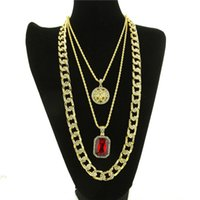Wholesale christmas gift set ideas - 3pcs set Man's chains necklace Hip hop necklace gold plated 30 inch chain valentine's day present idea for men boy party necklace gift