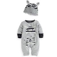 vêtements panda pour bébés garçons achat en gros de-2018 Nouveaux Bébés Garçons Vêtements Vêtements Coton de Bande Dessinée Tigger Lion Zèbre Panda Lapin Combinaison Chapeaux Nouveau-Né Chapeaux + Barboteuse