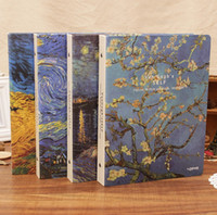 Wholesale classic diary notebook resale online - Dilosbu classic van gogh creative diary binder holes metal clip loose leaf notebook Office notepad Replaceable paper