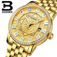 механические часы оптовых-Switzerland BINGER Mens Watches  Watch Automatic Mechanical Men Watch Sapphire Wrist Male reloj hombre B5055-6