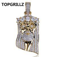 typ gold anhänger großhandel-TOPGRILLZ Hip Hop New Fashion Gold Überzogene Iced Out Big CZ Stein Masked Jesus Gesicht Anhänger Halskette Kristall Mit Drei Typ