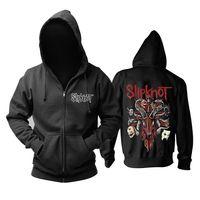 Discount men s leopard jacket - 21 designs vintage slipknot Rocker Cotton Rock Hoodies shell jacket hardrock Punk heavy Metal Zipper Sweatshirt DEVIL sudadera