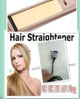 Wholesale Ceramic Hair Straightener Curler - 2017 Christmas gift Straightener Iron Brush Ceramic 2 In 1 Hair Straightening Curling Irons Hair Curler EU US Plug by epacket
