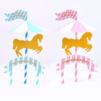 Wholesale paper tags sticker for sale - Group buy 4pcs set Merry Go Round Sticker Labels Flags Decals For Cup Cake Toppers Paper Straws Party Wedding Decoration Gift Tag hq Z