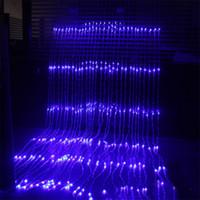 levou cachoeira cortina luzes venda por atacado-3X3 M 320 LED Cachoeira Snowfall Cortina Icicle LED Luz Da Corda Chuva de Meteoros Chuva Efeito Luz Da Corda Luz de Casamento de Natal
