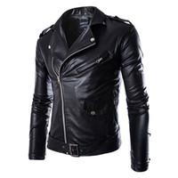 ingrosso uomini di moda veste-Giacca in pelle da uomo Fashion Brand Coat 2018 uomo Giacca da moto Homme Jaqueta De Couro in pelle PU Masculina Mens Punk Veste Cuir