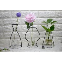 Wholesale minimalist vases - Black Lines Vase Abstract Minimalist Abstract Iron Vase Dried Flower Racks Nordic Flower Ornaments 2018
