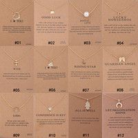 Wholesale circle pearl necklace - 12 Styles Dogeared choker Necklaces With card Gold Circle Elephant Pearl Love Wings Cross Key Pendant Necklace For Fashion women Jewelry