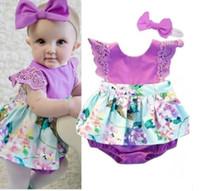Wholesale 5t christmas outfit - Vogue fashion newborn baby romper infant floral cotton bodysuit jumpsuit outfits sunsuit kids baby lace romper with headband