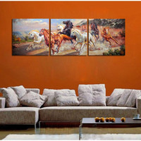 Wholesale 3Panels The horse in the pentium Home Modern Canvas Oil Painting Print Wall Art Decor for Living Room Home Decoration Framed Unframe