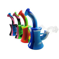 Wholesale slimming herbs for sale - Group buy The newest design Canton Tower slim waist silicone Water Bubbler with galss bowl For Wax Dry Herb Water Hookah bong siliocne bubbler S
