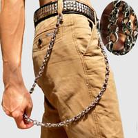 bisikletçi anahtarlıklar toptan satış-79 cm Kafatası Biker Jean Cüzdan Zincirler Gümüş Hayalet Kaya Punk Hip-pop Metal Anahtarlık Anahtar Pantolon Zinciri Moda Erkekler Takı