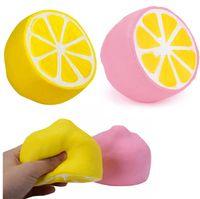 Wholesale lemon toy - Lemon squishy toy Jumbo Slow Rising pink yellow Kawaii Squishy Squeeze Toy Novelty Items FFA242 50PCS 2colors 11*9.6cm