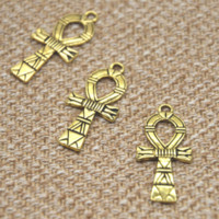 antike religiöse reize großhandel-8 teile / los Ägyptischen Ankh Kreuz charme Antike gold ton Altägyptischen Kreuz Religiöse Charms 18x41mm