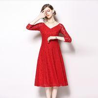 rotes cocktailkleid großhandel-Hochzeitskleid für Frauen Party Prom Cocktailkleider V-Ausschnitt Slim Fit Elegant Lady Lace Red Dress