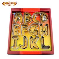 Wholesale letter cutter set resale online - Christmas Kuki Fun d Big Size Alphabet Letter Cookie Cutter Set Stainless Steel Biscuit Mould Fondant Cake Decorating Tools