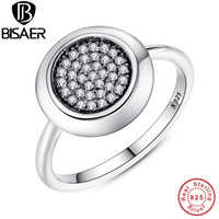 Wholesale clear finer ring for sale - Group buy Real Sterling Silver Signature Pave Round Ring Clear Cubic Zirconia Rings for Women Sterling Silver Fine Brand Jewelry S18101608