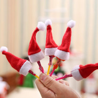 Wholesale lollipop decor resale online - Mini Lint Santa Claus Hat Christmas Xmas Holiday Lollipop Top Topper Decor Christmas Festival Party Ornament Decor MINI HAT KKA6021