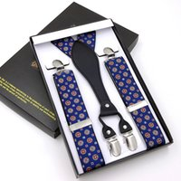 Wholesale clothes support - 4 Clip Men's Suspenders Synthetic Leather Men Braces Supports Elastic Adjustable Pants Straps Clothing Tirantes