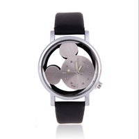 Wholesale pattern mouse - Hollow Cartoon Dial Couple Quartz Wristwatches Mouse Pattern Leather Strap Watches Lovely Men Women Lovers Clocks Relogio Saat