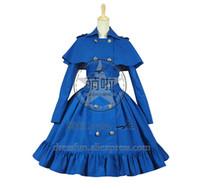 cosplay vestidos del victorian al por mayor-Gothic Lolita Cosplay Victorian Cape Reenactment Steampunk Escenario vestido traje cruzado con capa Vestido clásico