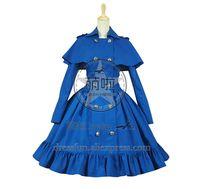 cosplay viktorianische kleider großhandel-Gothic Lolita Cosplay viktorianischen Cape Reenactment Steampunk Bühnenkostüm Zweireiher mit Umhang klassisches Kleid