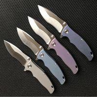 bilyalı rulmanlı cnc toptan satış-EF904 D2 Rulman Titanyum alaşım kolu CNC katlanır bıçak Pocket Knife Survival Bıçak Xmas hediye 1 adet