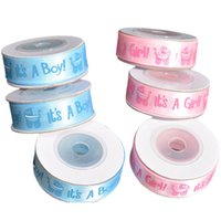 синяя розовая атласная лента оптовых-Ribbon It's a Girl Boy Baby Satin 15mm Printed Blue/Pink DIY Handmade Decoration #0713