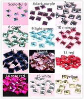 Wholesale Glass Jewelry Findings - 300pcs 16 color 6*6mm Shiny Square Glass Crystal Sticking Crystal Square FlatBack Charm Beads For DIY Jewelry Finding
