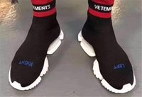 Wholesale Brand Ss - VETEMENTS SS CREW UNISES Sock Trainer Dropping RUNNING Shoes CN3307 Luxury Brand Casual Shoes Socks Boots Red Black Stretch Mesh Sneakers