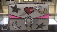 Wholesale White Star Line Silver - AAAAA 403348 30cm Dionysuss Rhinestone Heart Moon Star Canvas Shoulder Bag Suede Lining with Box Dust Bag Serial Number Free Shipping