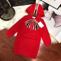 vestido rojo con capucha al por mayor-Hao moda temperamento prendas de vestir para niños chica estilo largo sudaderas con capucha dress 2018 otoño puro algodón suave rojo cómodo