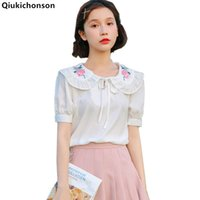 Wholesale peter pan collar chiffon top - Women Chiffon Shirt 2018 Summer Tops Ladies Sweet Cute Peter pan collar Embroidery Chiffon Blouse Kawaii Lolita Blouse mujer
