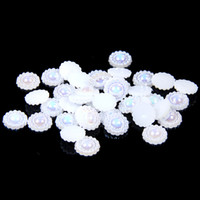 Wholesale Half Pearls Round Beads - 9-12mm White AB ABS Resin Half Round Imitation Pearls Beads Sunflower Wedding Cards Embellishments DIY Nail Art Decorations