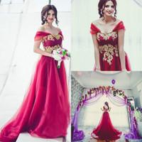 Wholesale Exquisite Wedding Dress Off Shoulder - Exquisite Off Shoulder Red Middle East Wedding Dresses Gold Applique Tulle Saudi Arabia Dubai African Bridal Gowns Ball Formal Custom