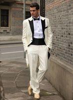 pant morning wedding Australia - Morning Style Lvory Tailcoat Peaked Lapel One Button Men Wedding Tuxedos Men Dinner Prom Suit Customize(Jacket+Pants+Bows Tie+Girdle) 62