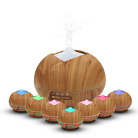 Wholesale wooden aroma diffuser - 400ml Wood Grain Humidifier Wooden 7 Color LED Air Humidifier Ultrasonic Humidifier Aroma Essential Oil Diffuser Portable Mist Maker