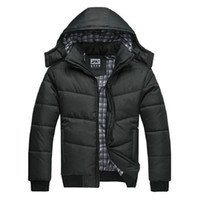 Wholesale Quilted Sleeves - winter jacket men quilted black puffer coat warm fashion male overcoat parka outwear polyester padded hooded Winter coat